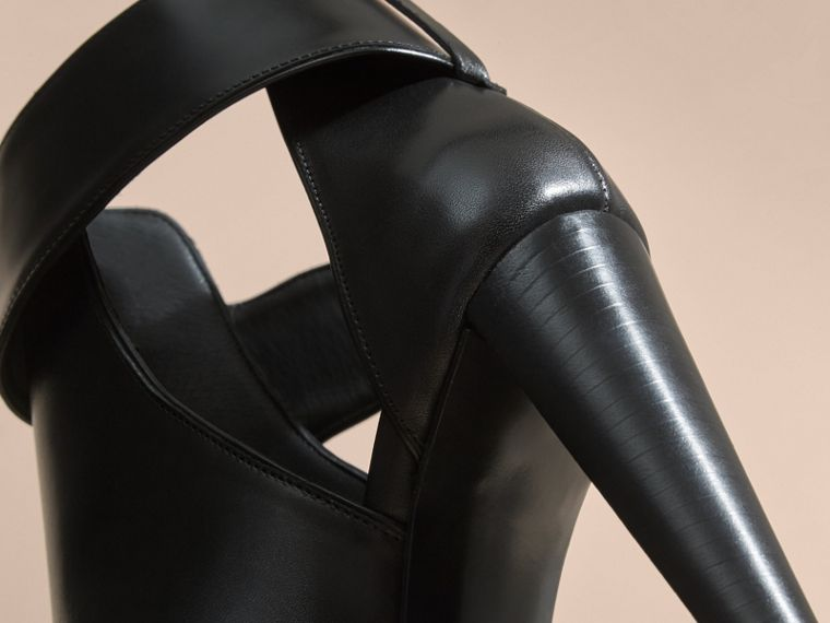 Black Buckle Detail Peep-toe Platform Ankle Boots - cell image 4