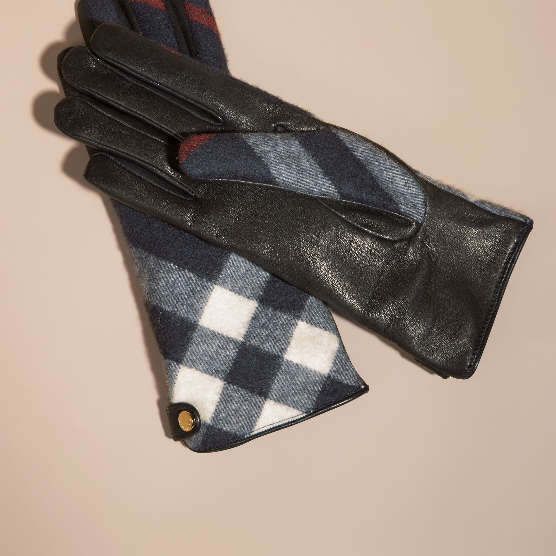 Navy Leather and Check Cashmere Gloves Navy - gallery image 3