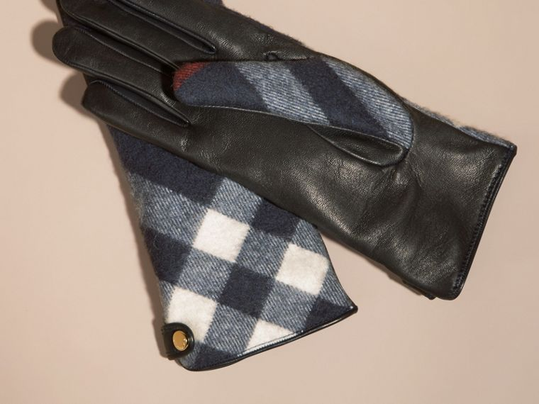Navy Leather and Check Cashmere Gloves Navy - cell image 2