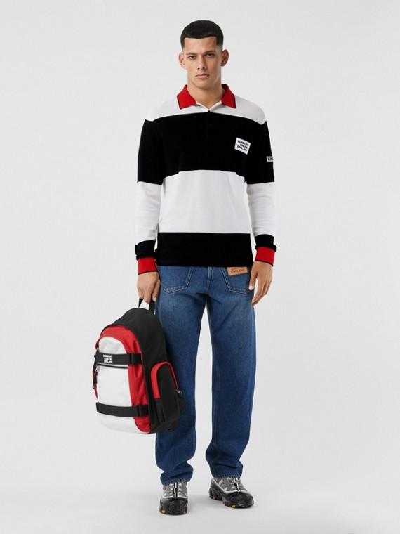 ロングスリーブ ロゴアップリケ ストライプ コットンポロシャツ (ブラック/ホワイト)