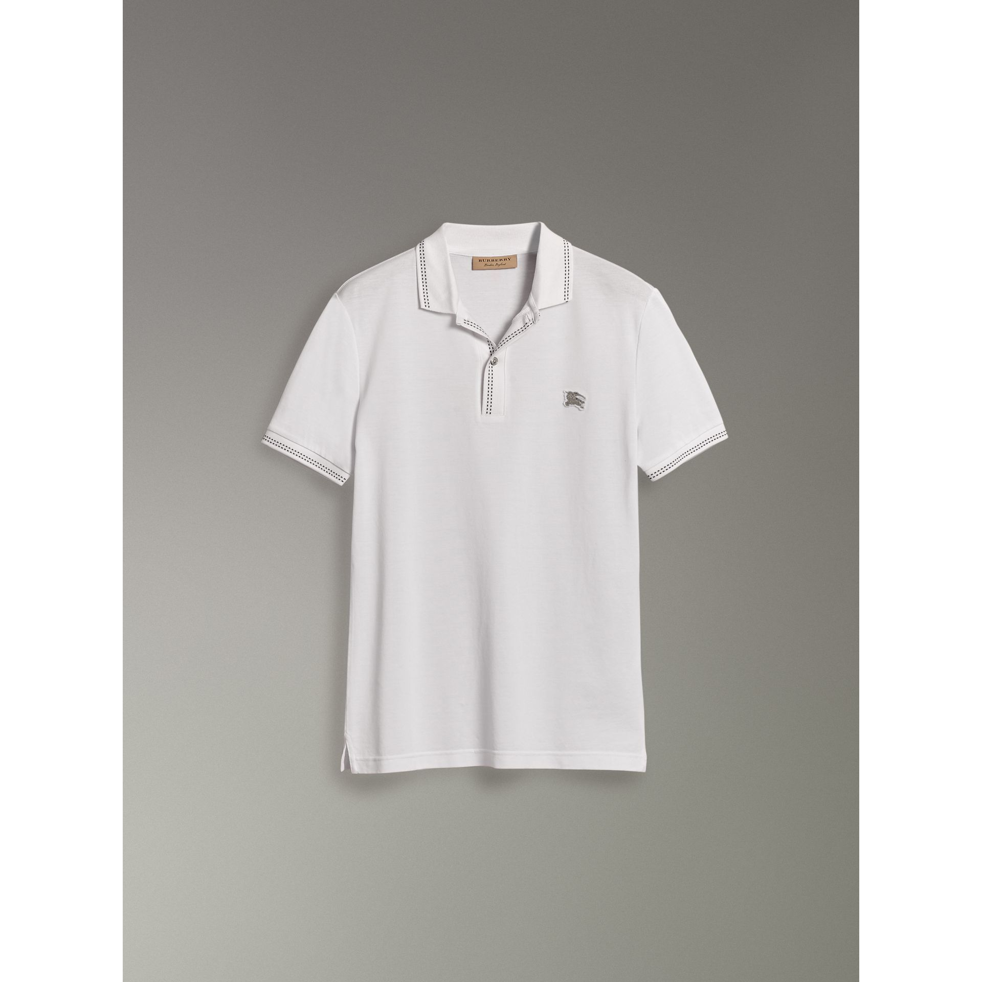 Cotton Piqué Polo Shirt in White - Men | Burberry - gallery image 3