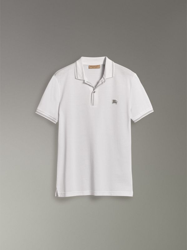 Cotton Piqué Polo Shirt in White - Men | Burberry - cell image 3