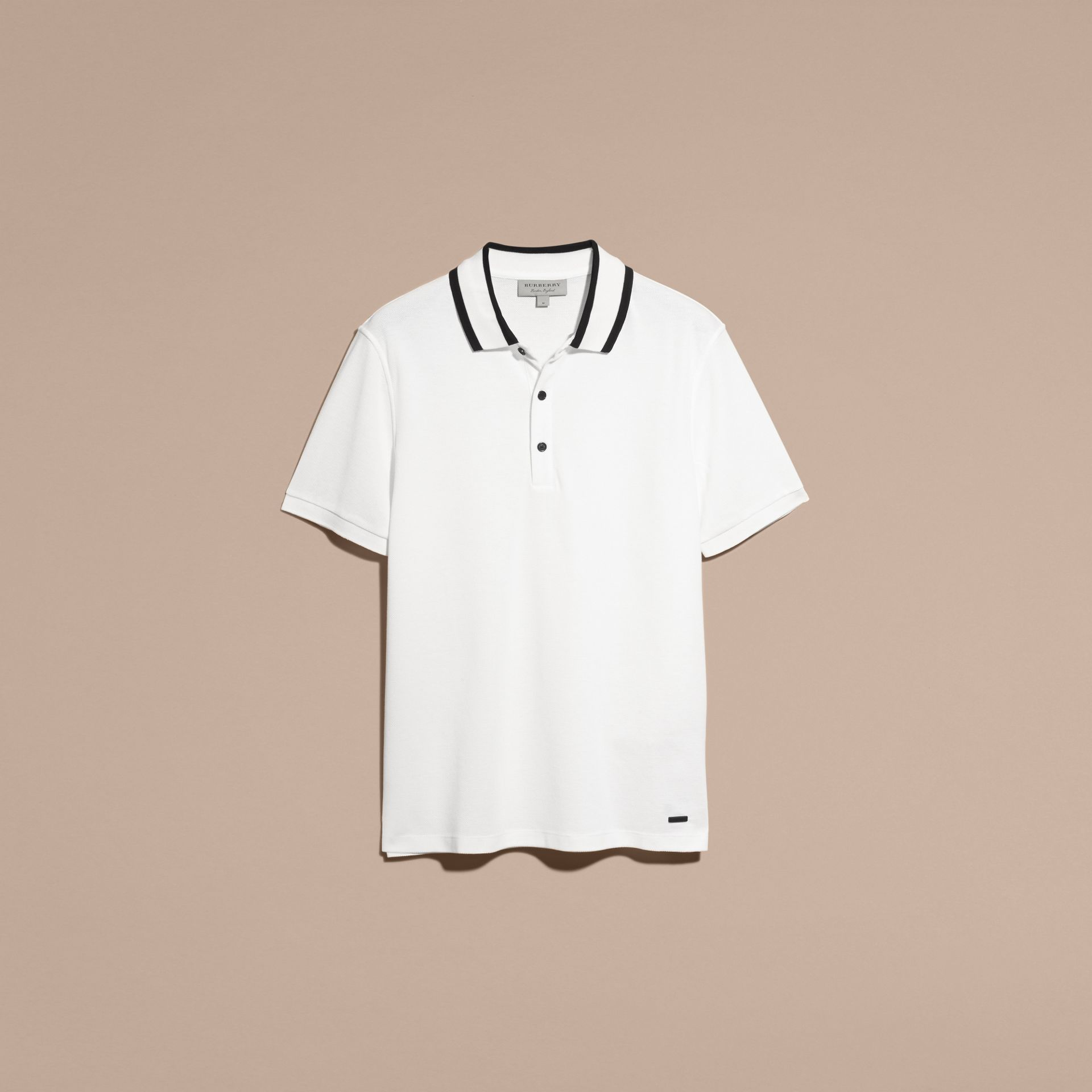 Striped Collar Cotton Piqué Polo Shirt White - gallery image 4
