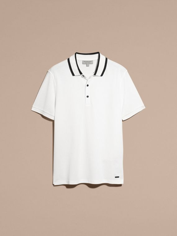 White Striped Collar Cotton Piqué Polo Shirt White - cell image 3