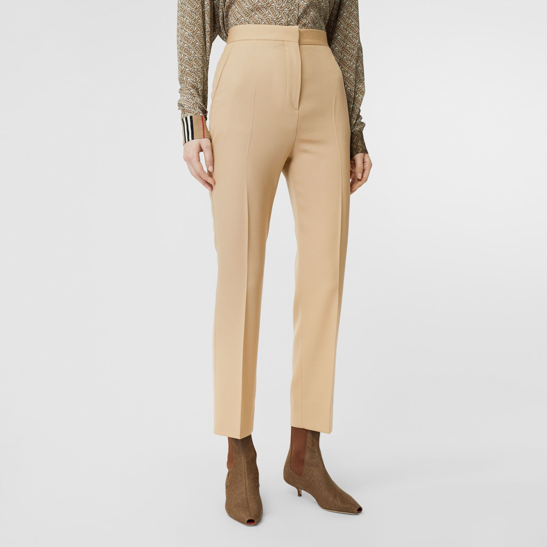 Wool Tailored Trousers in Honey - Women | Burberry - gallery image 4