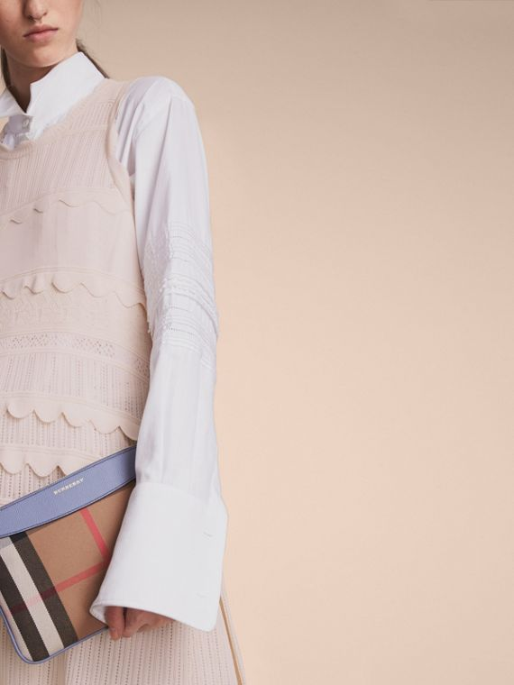 House Check and Leather Clutch Bag in Slate Blue - Women | Burberry Australia - cell image 2