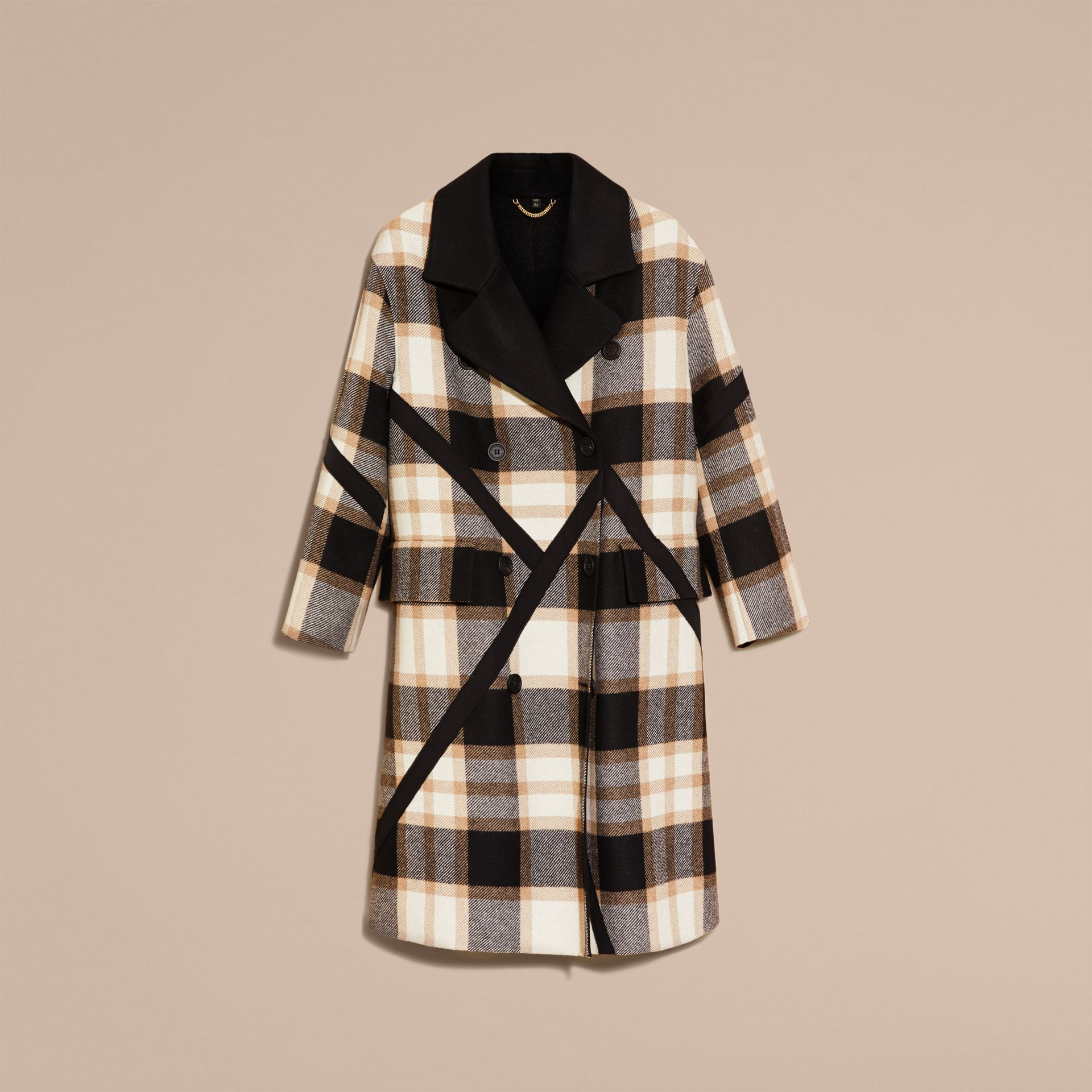 Black/camel Double-breasted Check Wool Coat - gallery image 4