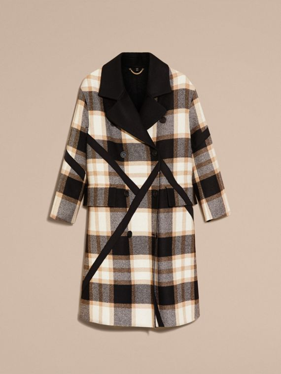 Black/camel Double-breasted Check Wool Coat - cell image 3