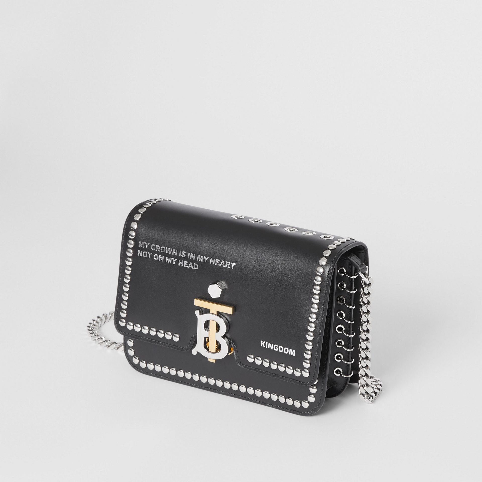Small Studded Montage Print Leather TB Bag in Black - Women | Burberry United Kingdom - gallery image 3