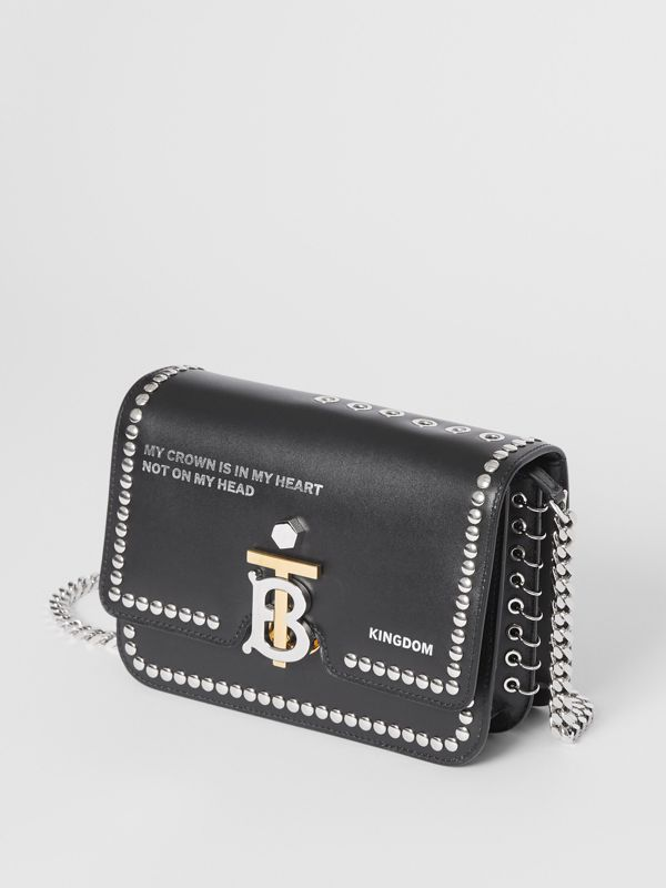Small Studded Montage Print Leather TB Bag in Black - Women | Burberry - cell image 3