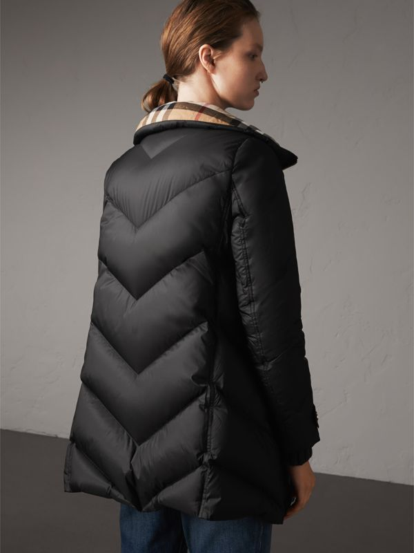 Chevron-quilted Down-filled Coat in Black - Women | Burberry - cell image 2