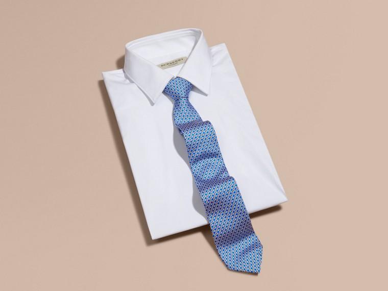 Bright hydrangea blue Modern Cut Geometric Print Silk Tie - cell image 2