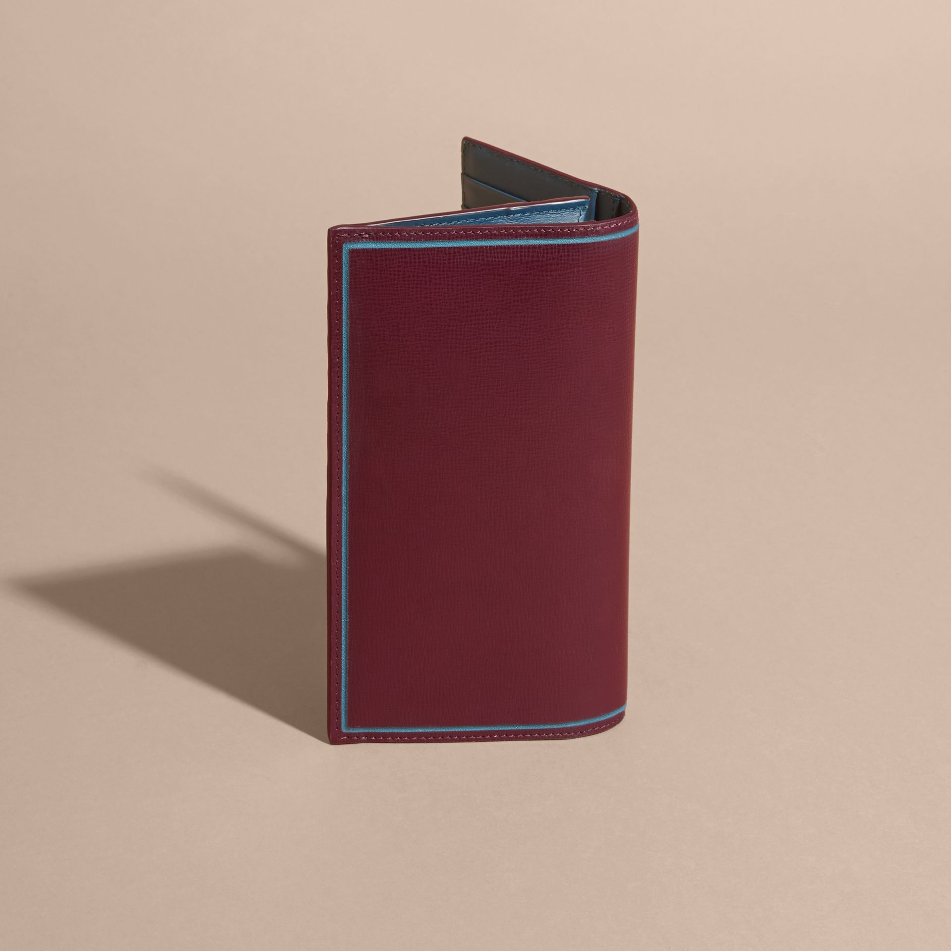 Border Detail London Leather Continental Wallet in Burgundy Red - gallery image 4