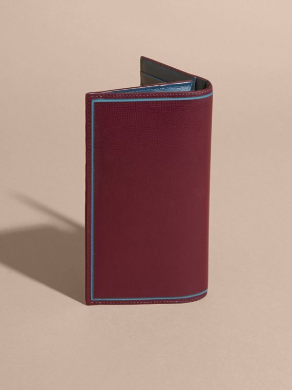 Border Detail London Leather Continental Wallet in Burgundy Red - cell image 3