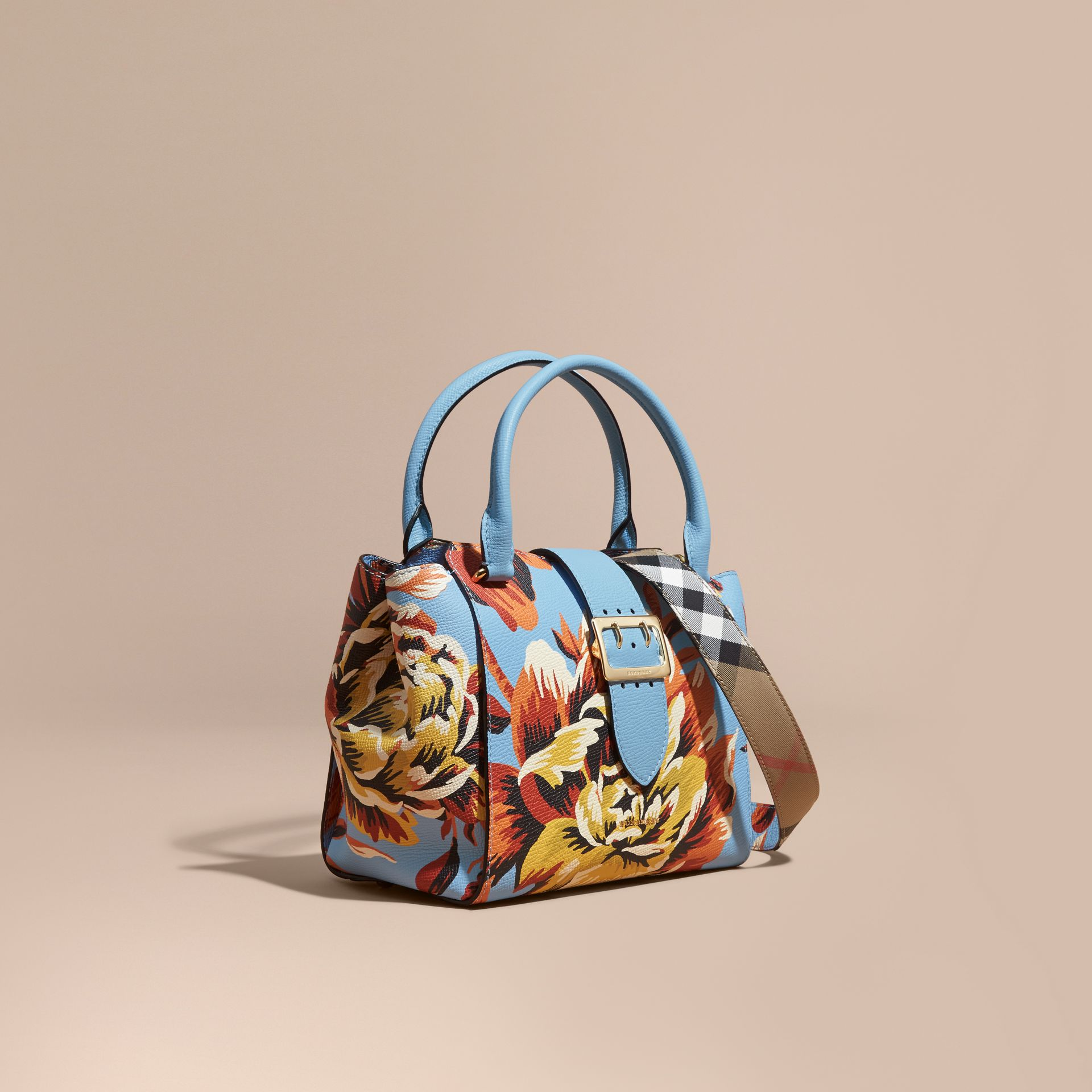 The Medium Buckle Tote in Peony Rose Print Leather in Pale Blue/vibrant Orange - gallery image 1