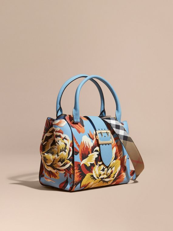 The Medium Buckle Tote in Peony Rose Print Leather Pale Blue/vibrant Orange