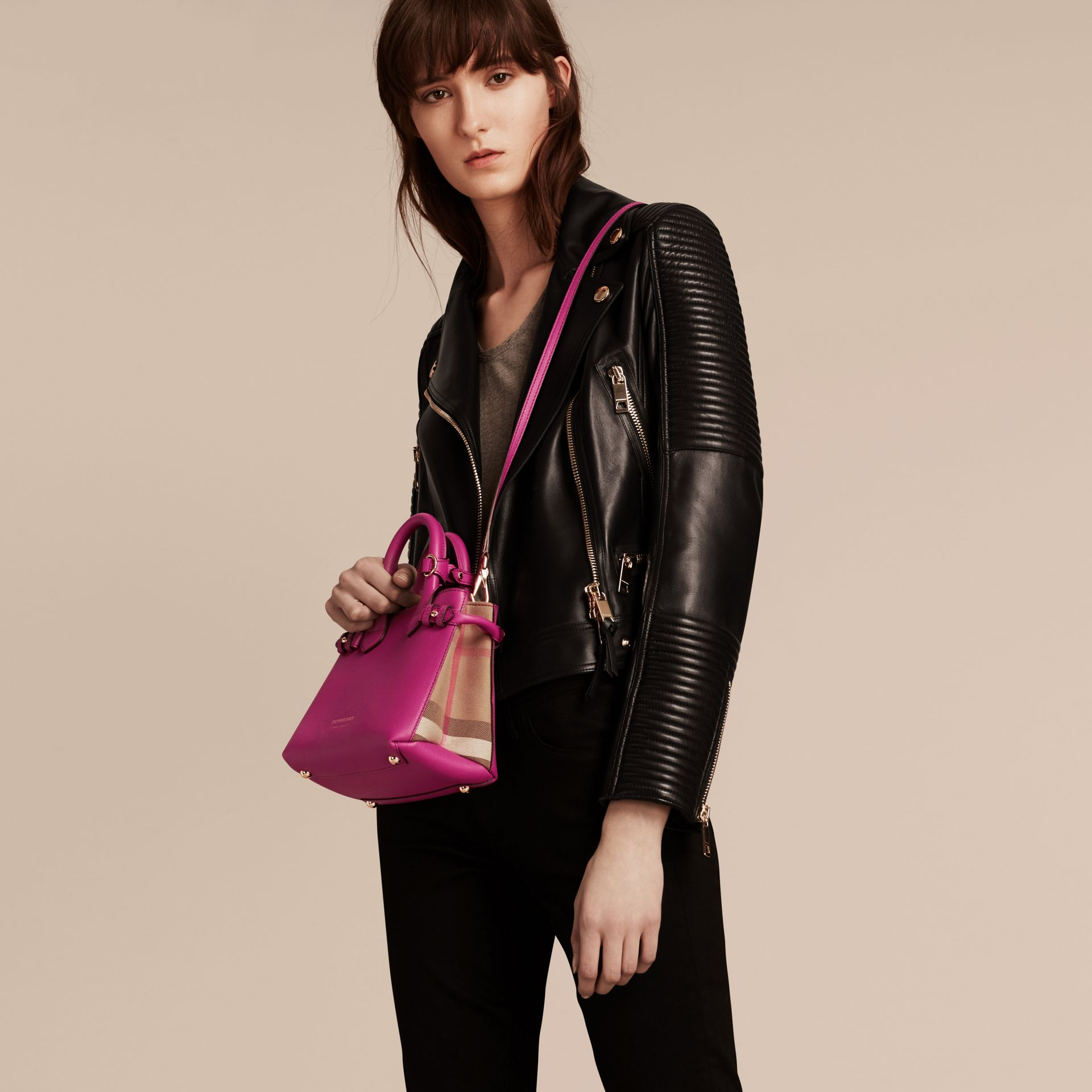 The Baby Banner in Leather and House Check in Brilliant Fuchsia - Women | Burberry - gallery image 3
