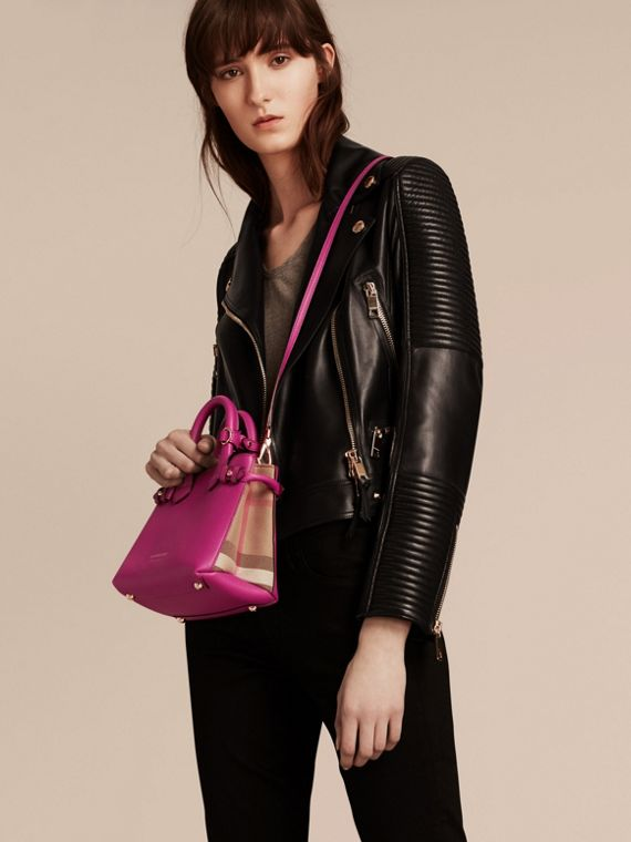 The Baby Banner in Leather and House Check in Brilliant Fuchsia - Women | Burberry - cell image 2
