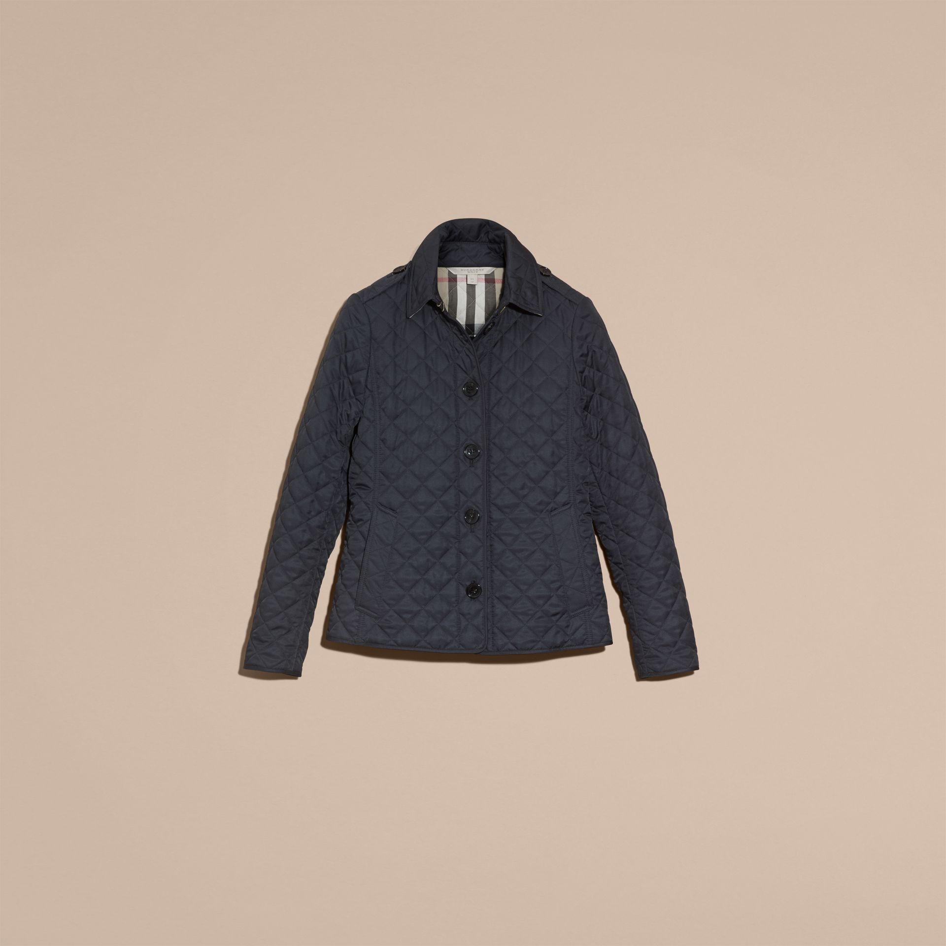 Navy Diamond Quilted Jacket Navy - gallery image 4