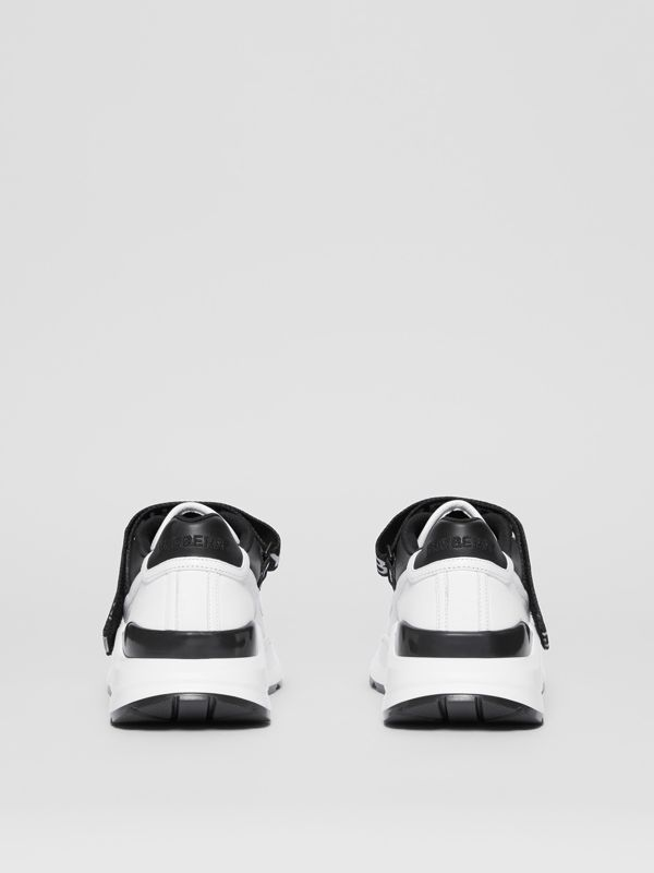 Logo Detail Leather and Nylon Sneakers in Black/optic White - Women | Burberry Singapore - cell image 3