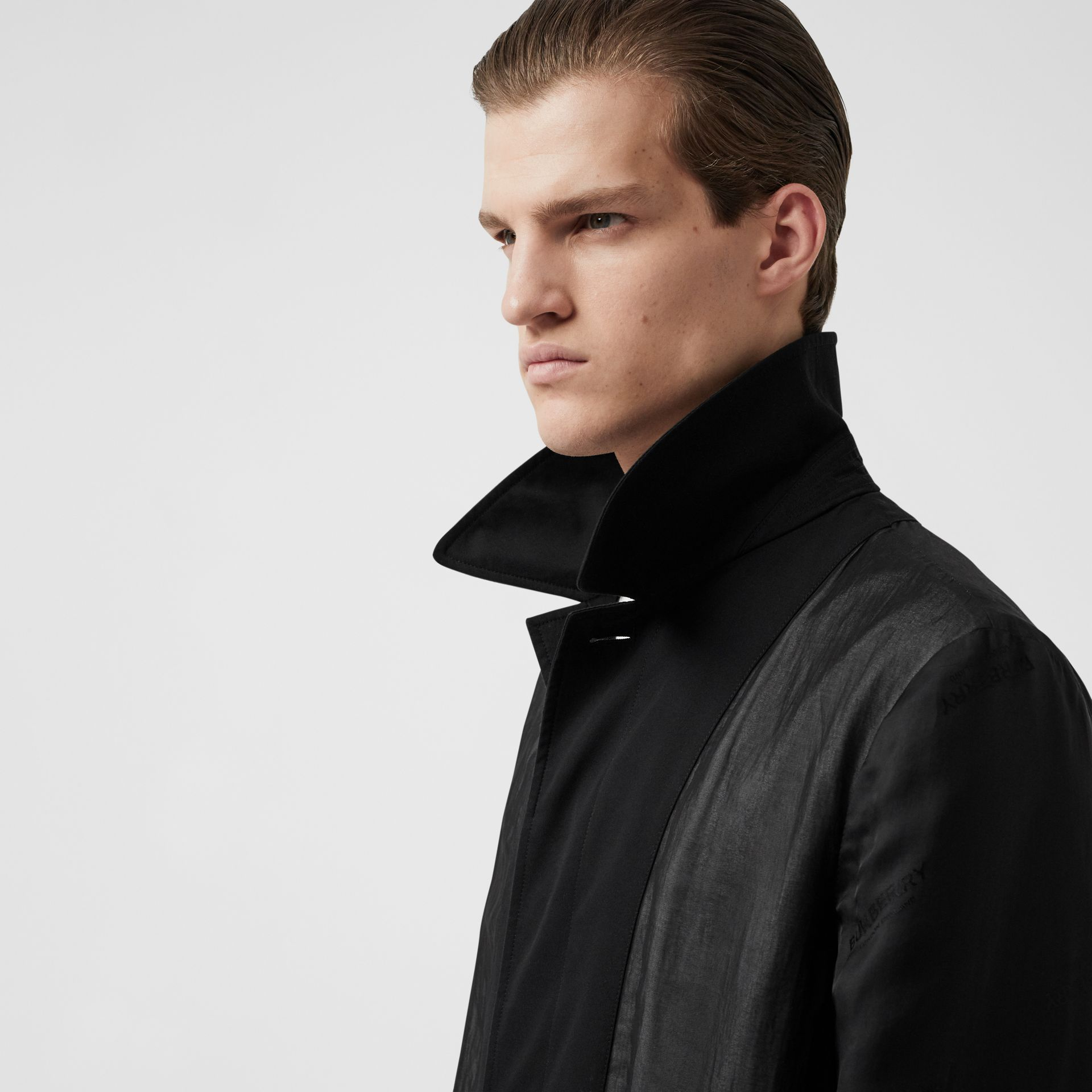 Logo Detail Panelled Cotton Gabardine Car Coat in Black - Men | Burberry - gallery image 7
