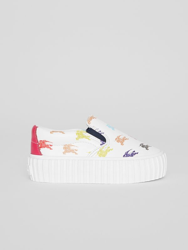 EKD Leather Slip-on Sneakers in Optic White - Children | Burberry - cell image 3