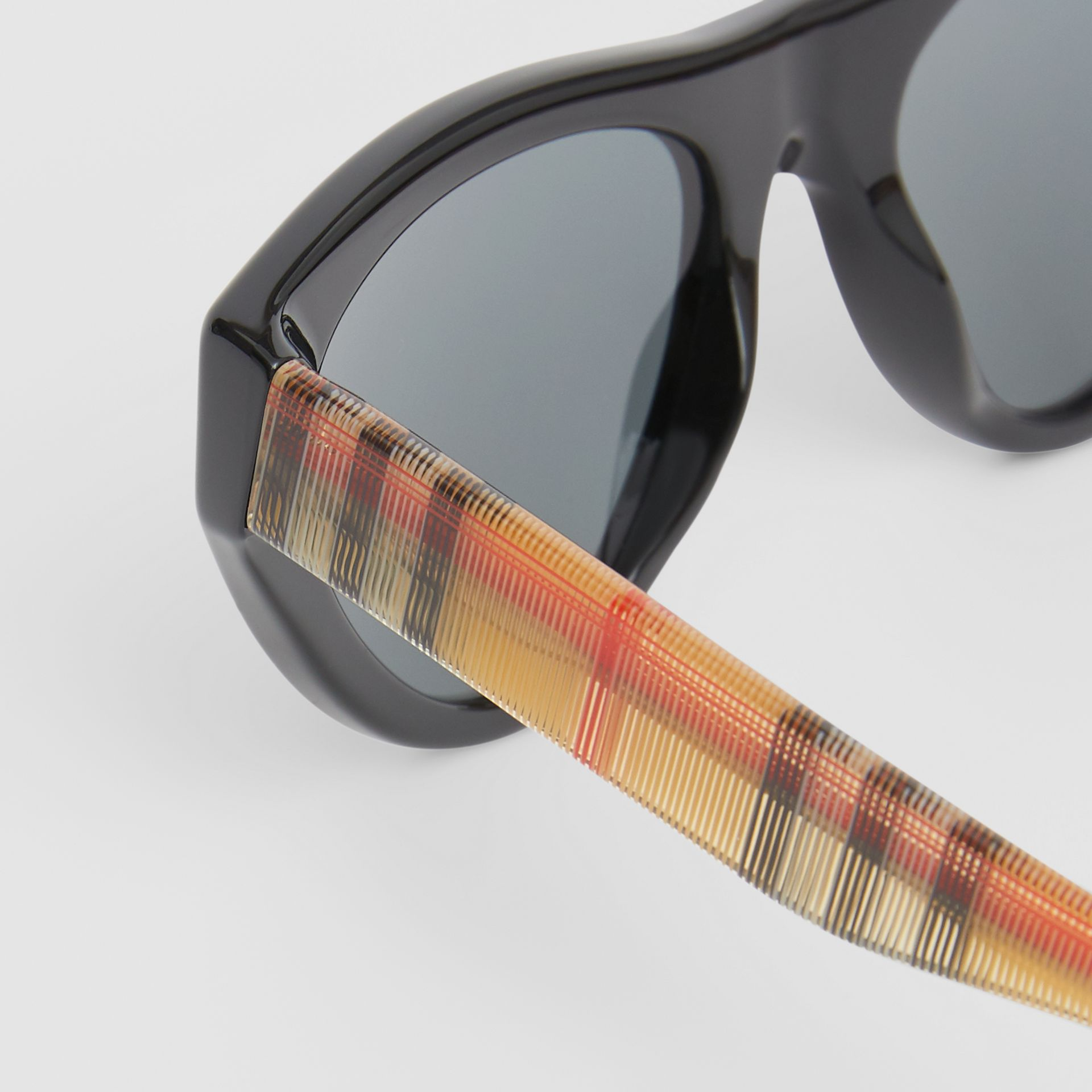 Vintage Check Detail Triangular Frame Sunglasses in Antique Yellow - Women | Burberry - gallery image 1