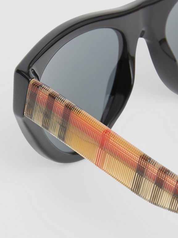 Vintage Check Detail Triangular Frame Sunglasses in Antique Yellow - Women | Burberry - cell image 1