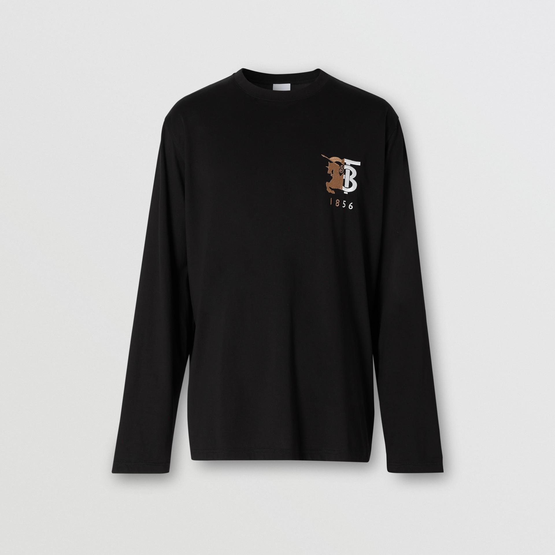 Haut à manches longues en coton avec logo (Noir) - Homme | Burberry - photo de la galerie 3