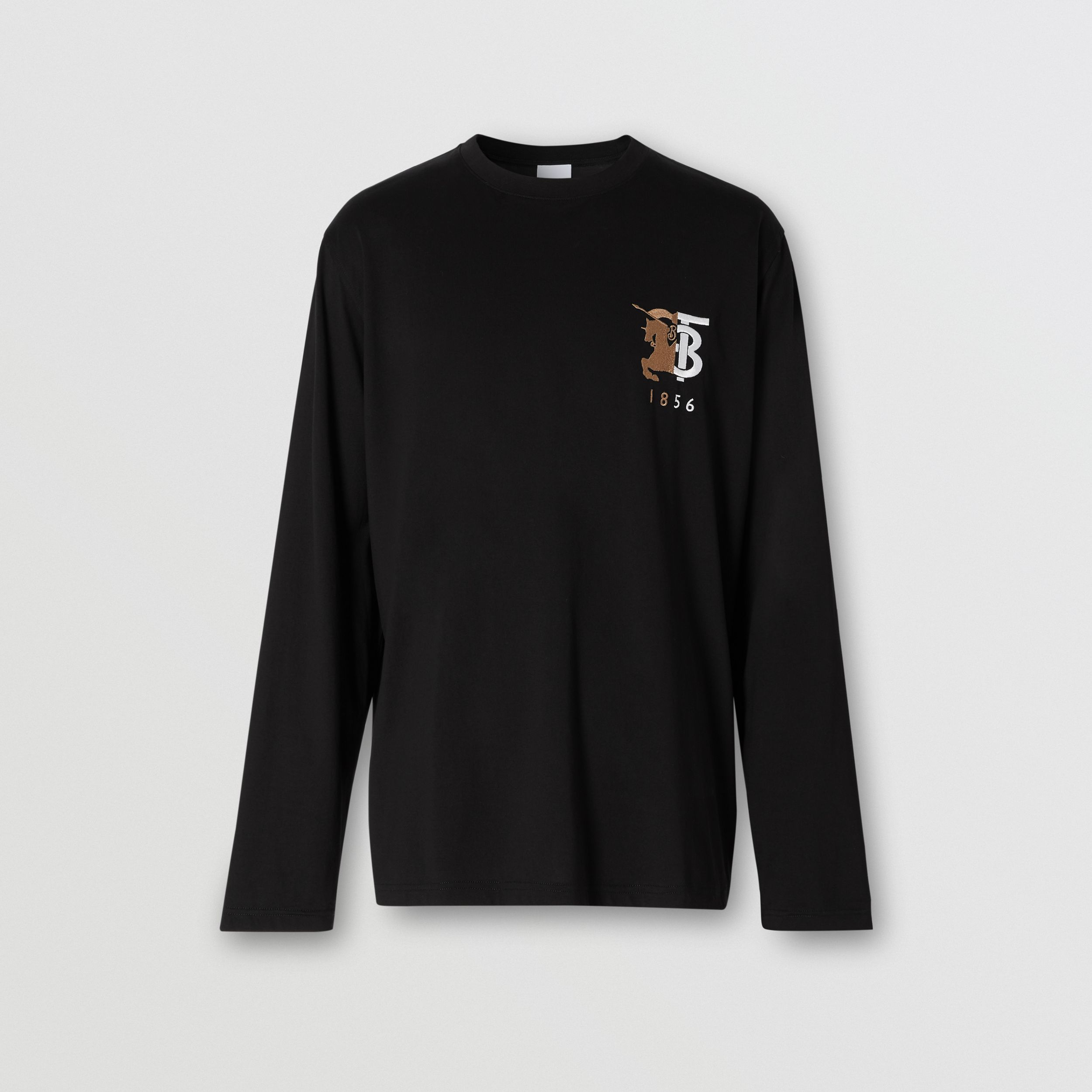 Long-sleeve Contrast Logo Graphic Cotton Top in Black - Men | Burberry United Kingdom - 4
