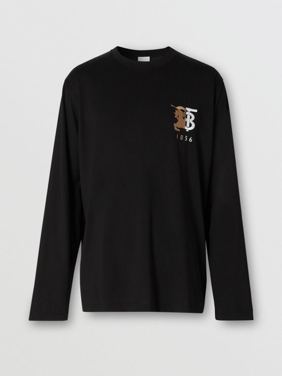 Long-sleeve Contrast Logo Graphic Cotton Top in Black