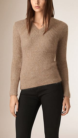 Pullover in mohair e lana a costine