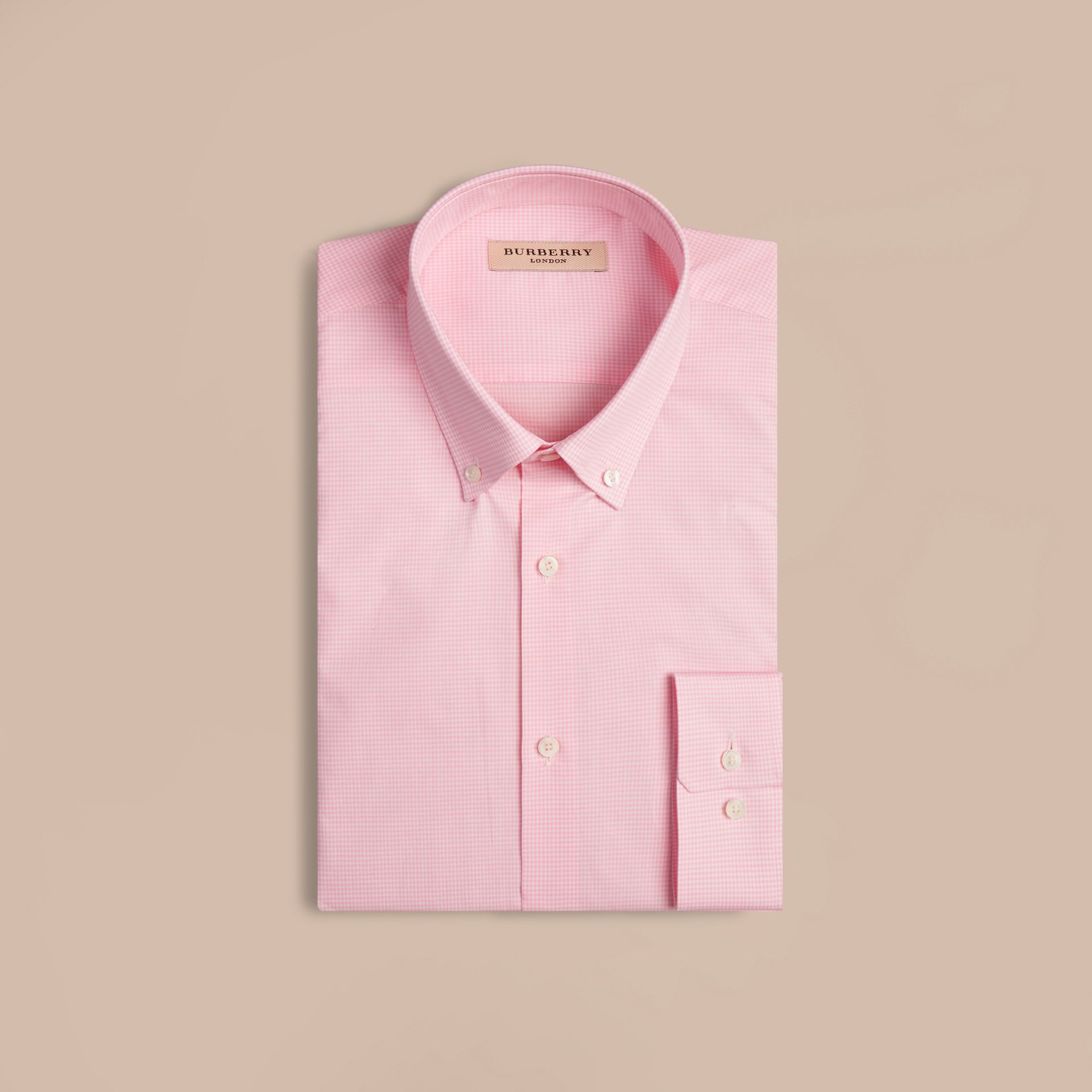 Modern Fit Button-down Collar Gingham Cotton Shirt in City Pink - gallery image 4
