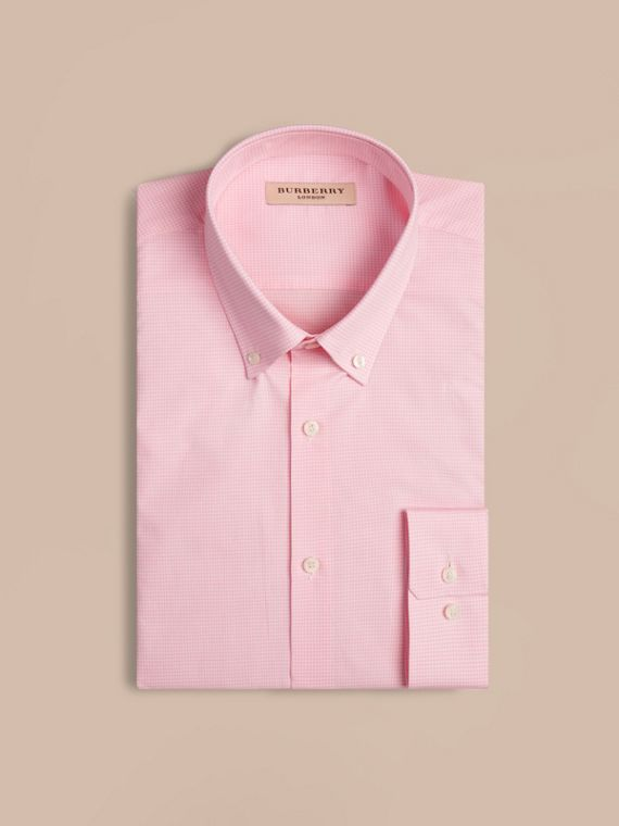 Modern Fit Button-down Collar Gingham Cotton Shirt in City Pink - cell image 3
