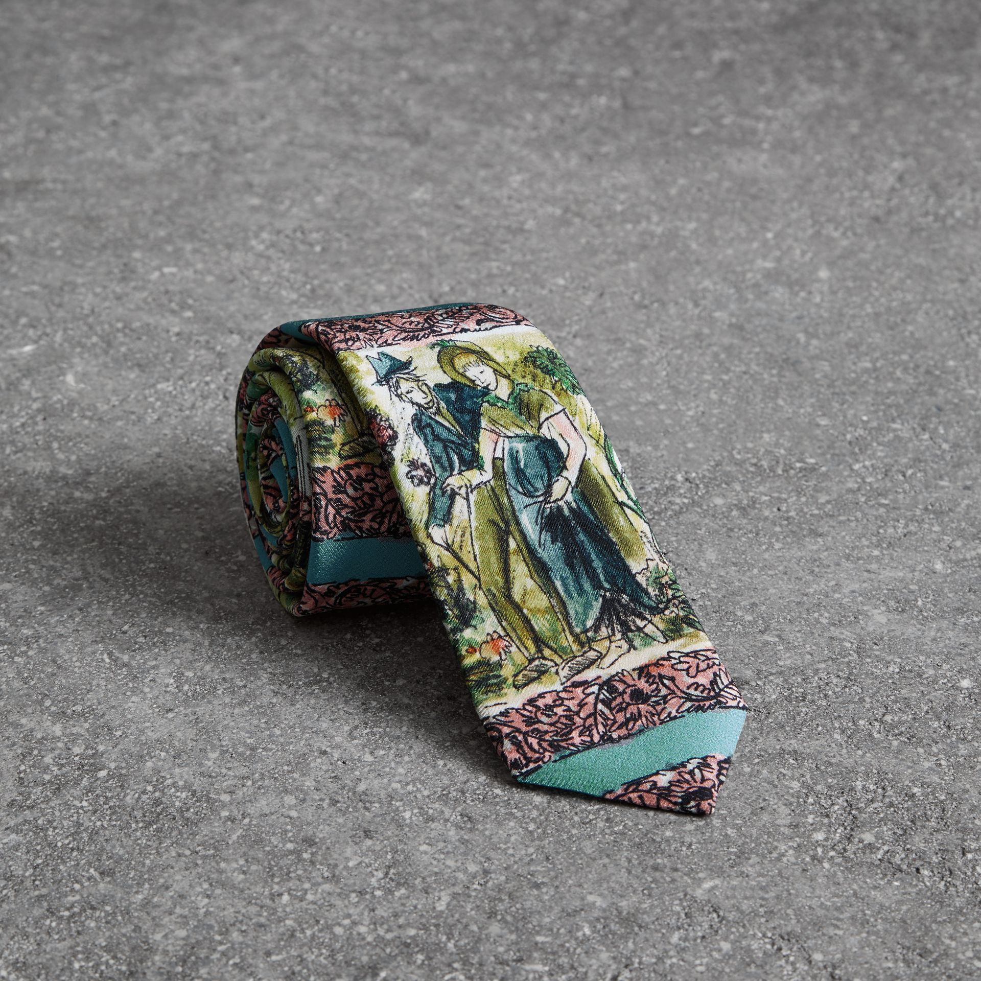 Slim Cut Figurative Print Silk Tie in Turquoise Green - Men | Burberry United Kingdom - gallery image 0