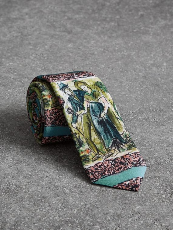 Slim Cut Figurative Print Silk Tie in Turquoise Green