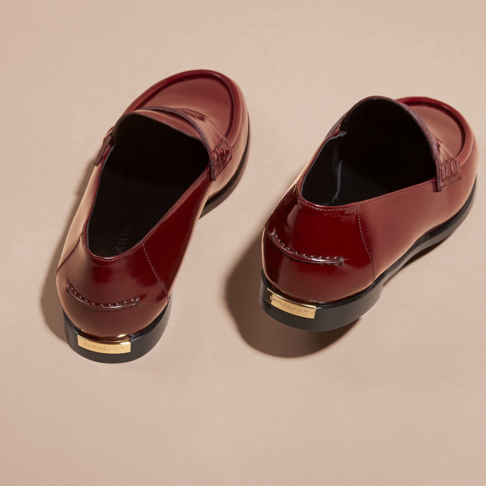 Mahogany red Polished Leather Loafers Mahogany Red - gallery image 4