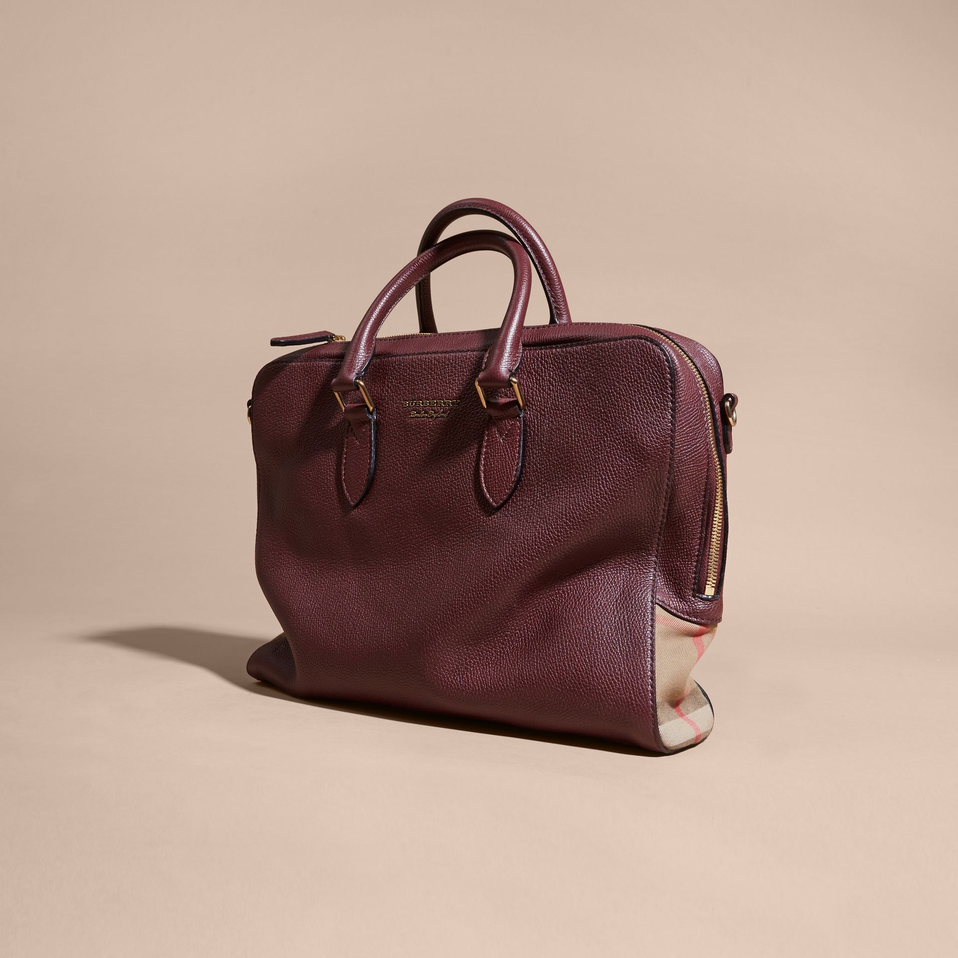 Leather and House Check Briefcase in Wine - gallery image 8