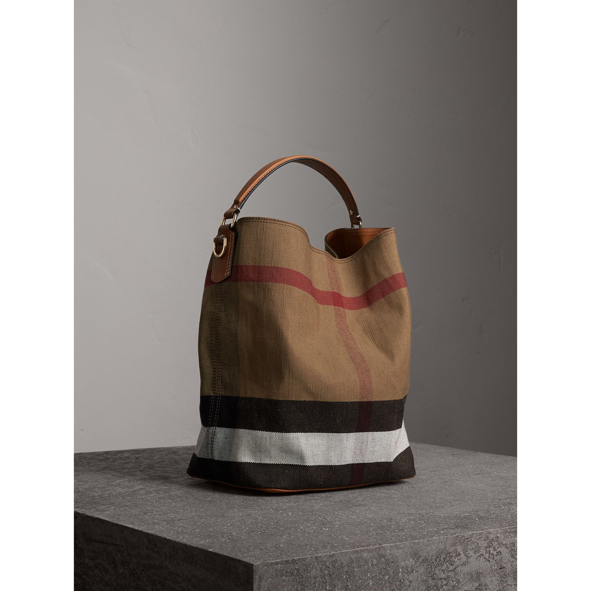 Medium Canvas Check Hobo Bag in Saddle Brown - Women | Burberry - gallery image 8