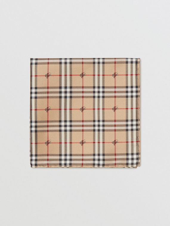 Equestrian Knight Check Silk Pocket Square in Camel