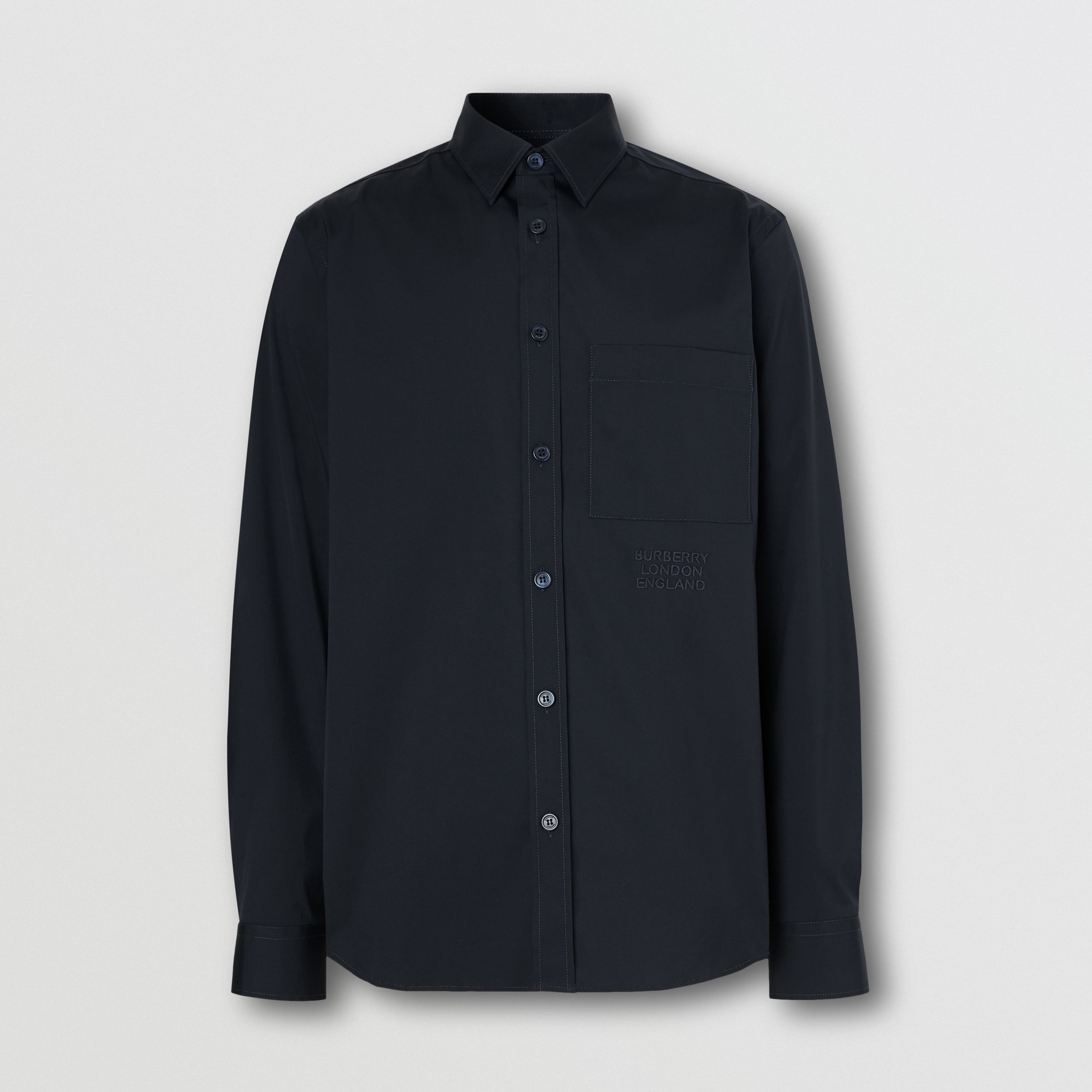 Embroidered Logo Cotton Blend Shirt in Navy - Men | Burberry - 4