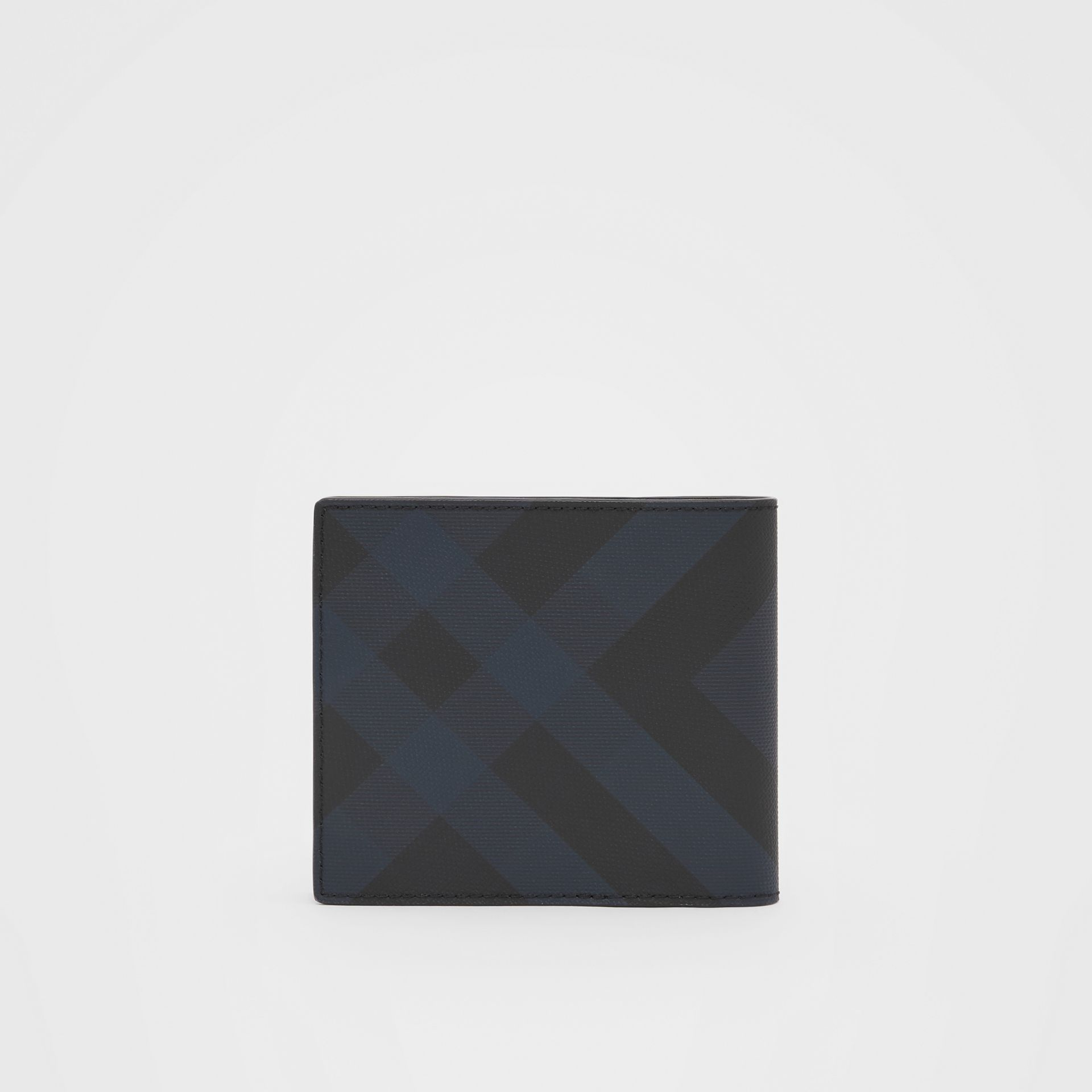 London Check and Leather International Bifold Wallet in Navy - Men | Burberry United Kingdom - gallery image 4