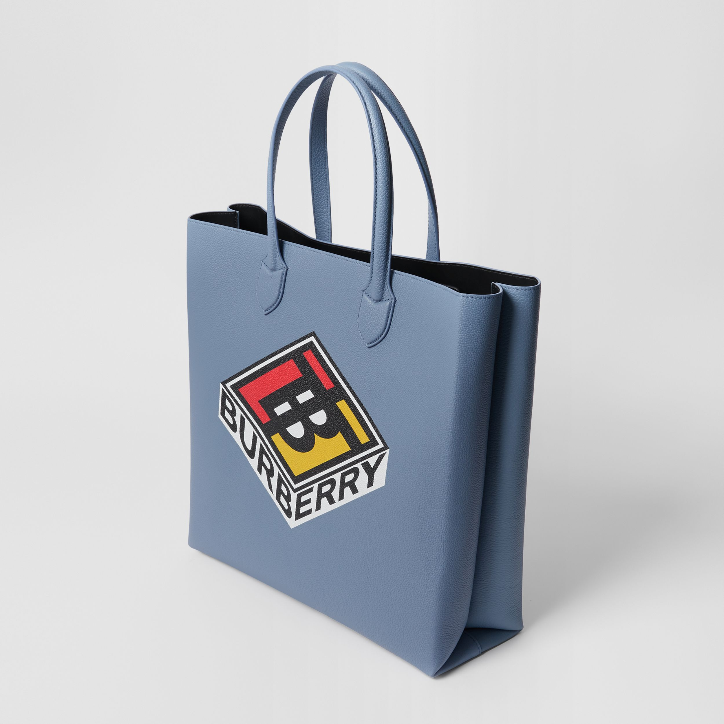 Large Logo Graphic Grainy Leather Tote in Baby Blue | Burberry - 4