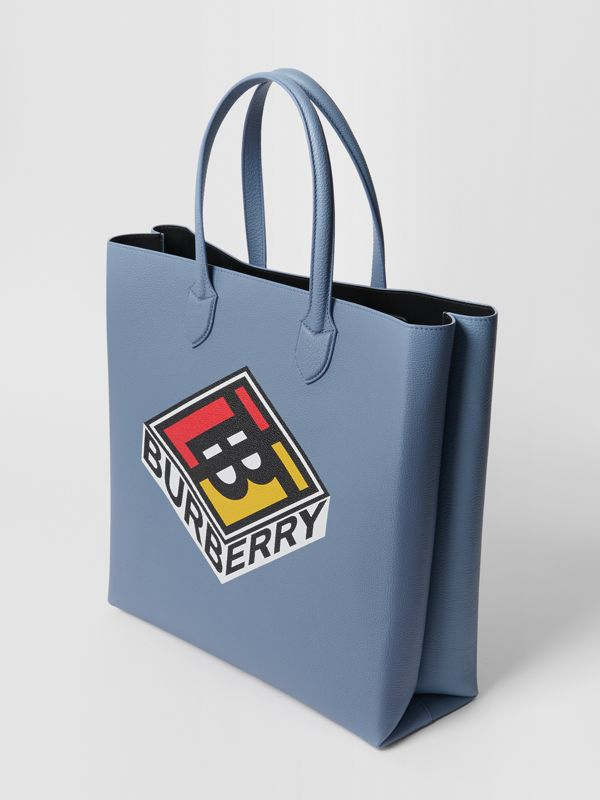 Large Logo Graphic Grainy Leather Tote in Baby Blue - Men | Burberry - cell image 3