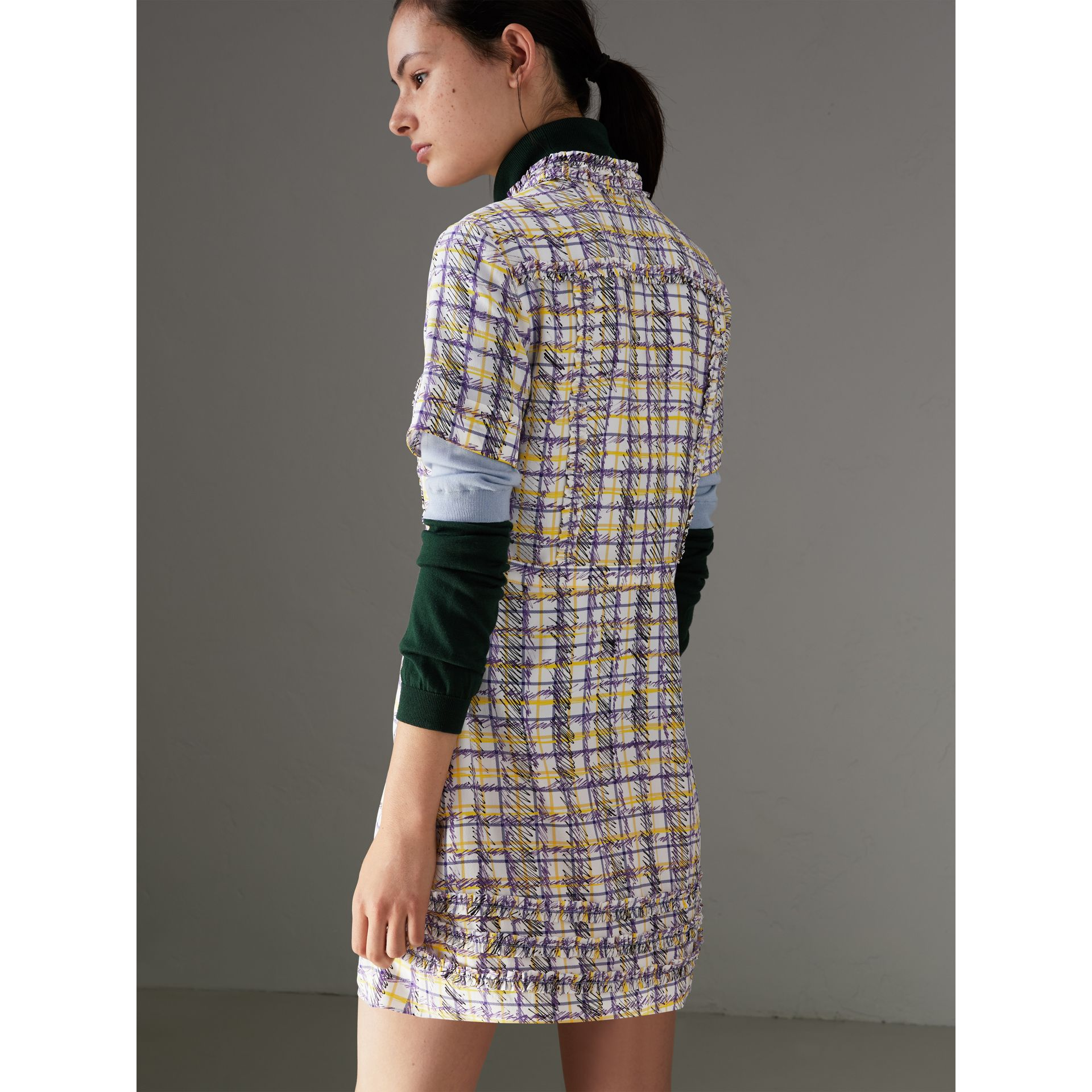 Ruffle Detail Scribble Check Print Silk Dress in Heather - Women | Burberry Canada - gallery image 2