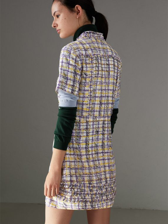 Ruffle Detail Scribble Check Print Silk Dress in Heather - Women | Burberry - cell image 2