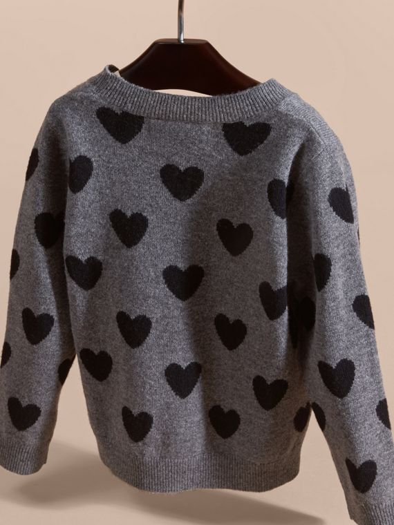 Black Heart Intarsia Wool Cashmere Sweater - cell image 3