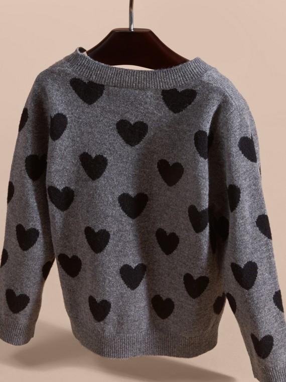 Preto Suéter de lã e cashmere com corações em ponto de tricô intársia - cell image 3