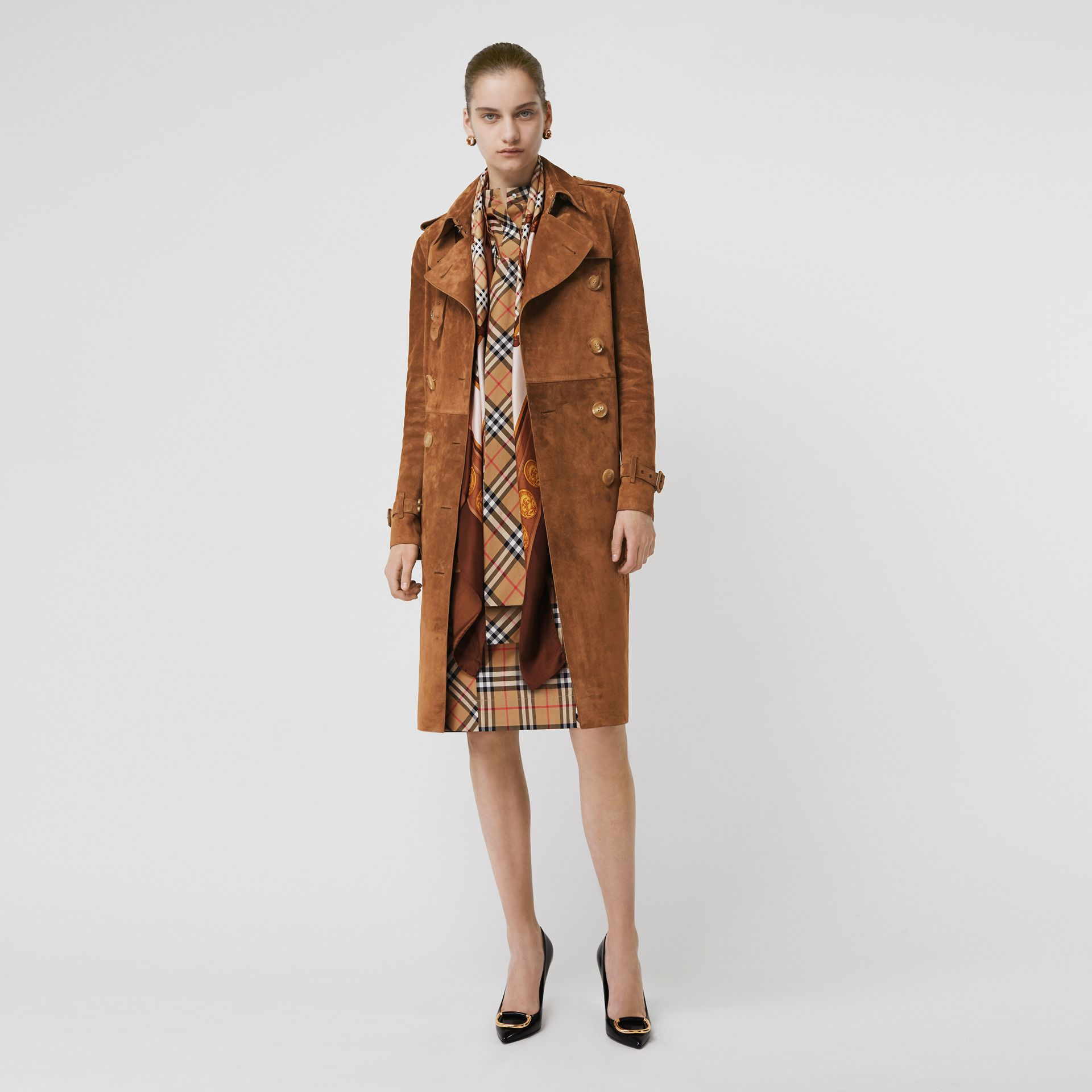 Suede Trench Coat in Sepia Brown - Women | Burberry - gallery image 0