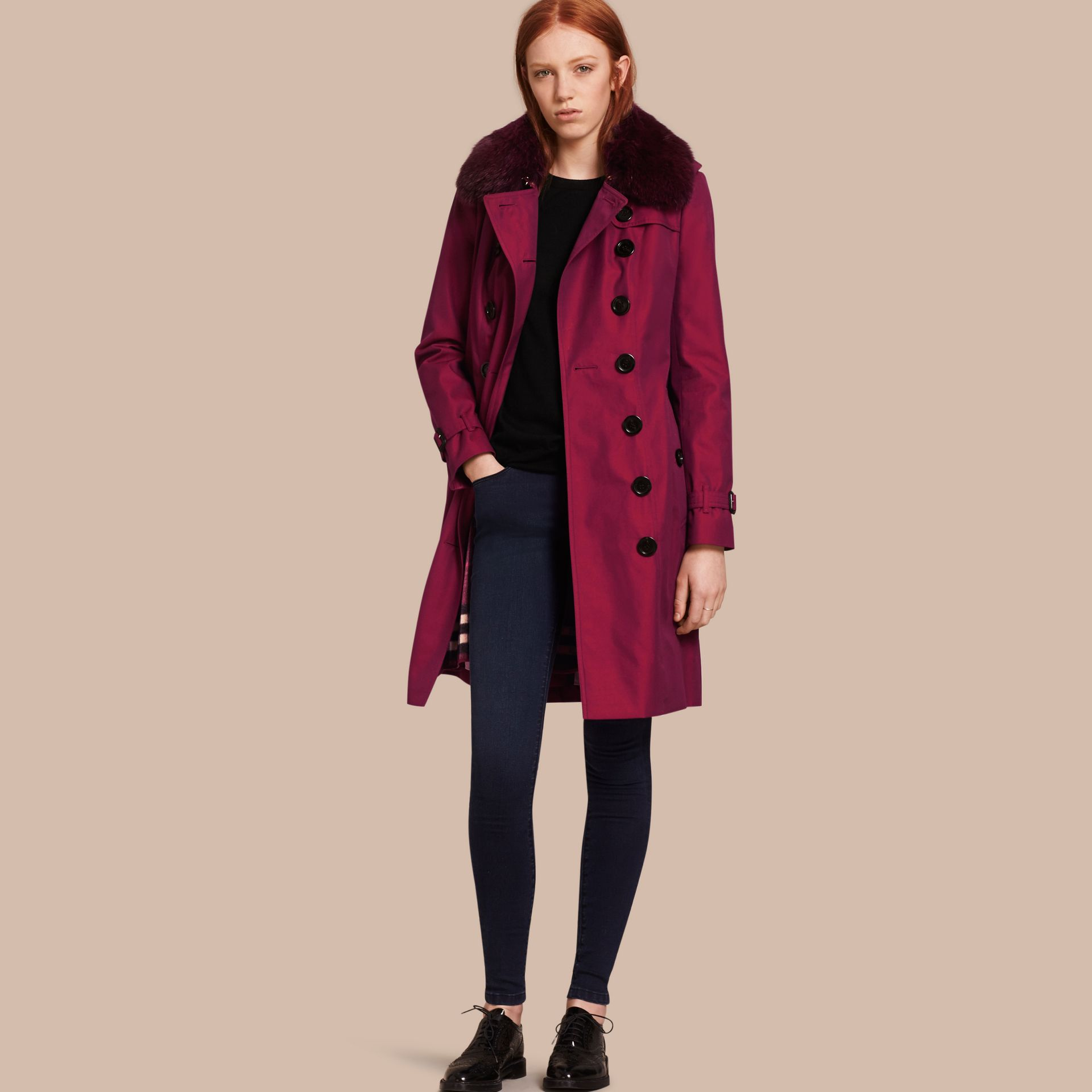 Crimson Cotton Gabardine Trench Coat with Detachable Fur Collar and Warmer Crimson - gallery image 1